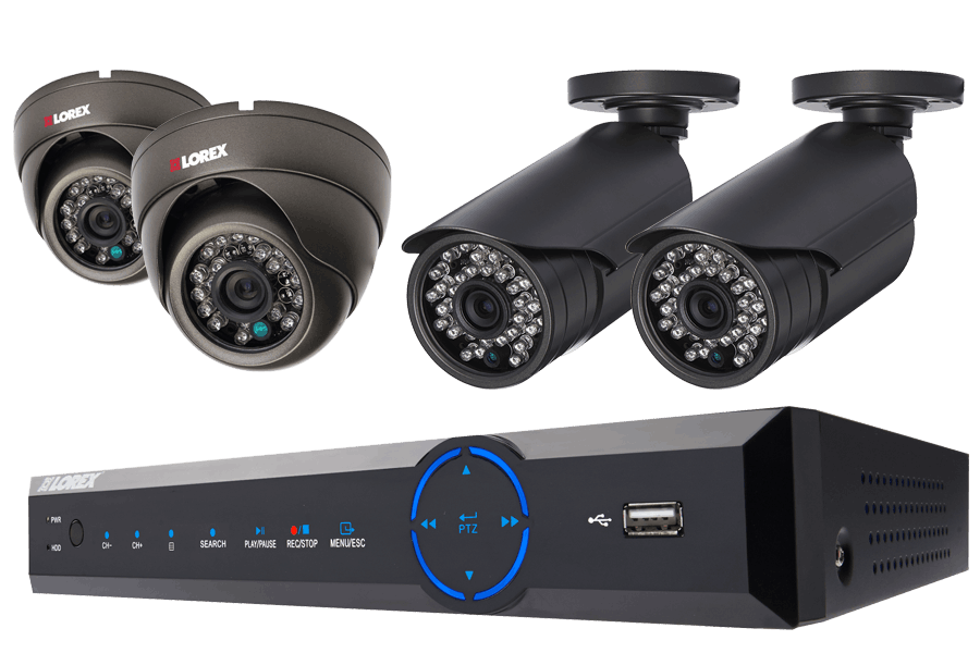 Fully-Featured Security System with Varifocal Bullet and Dome Cameras
