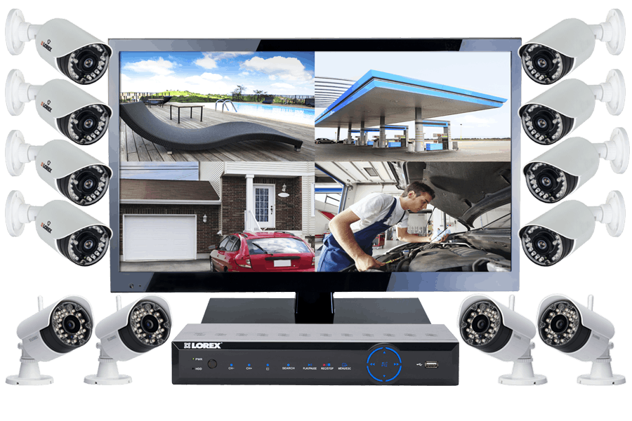 Complete 12 Camera Wired + Wireless Security System with Monitor