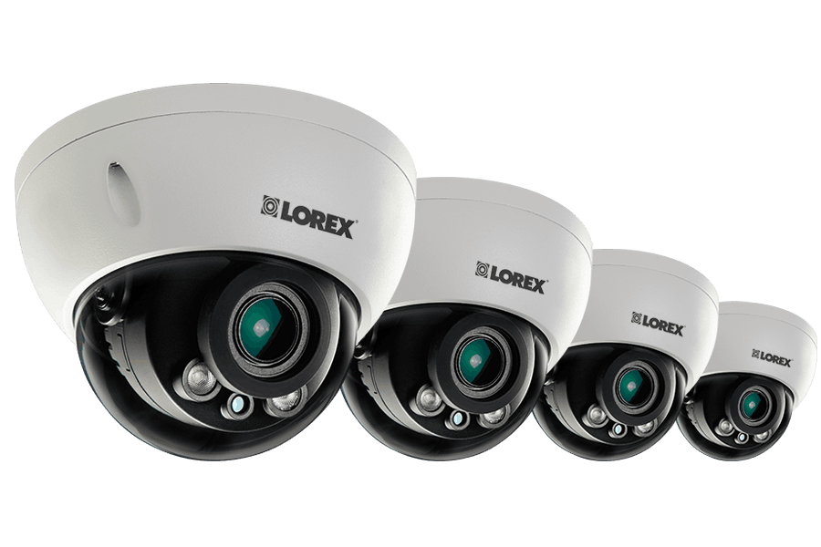 3 Megapixel Dome IP Cameras with Motorized Lenses 140ft night vision 4 Pack