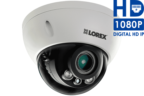 Indoor/Outdoor Dome Security Camera with Motorized Lens