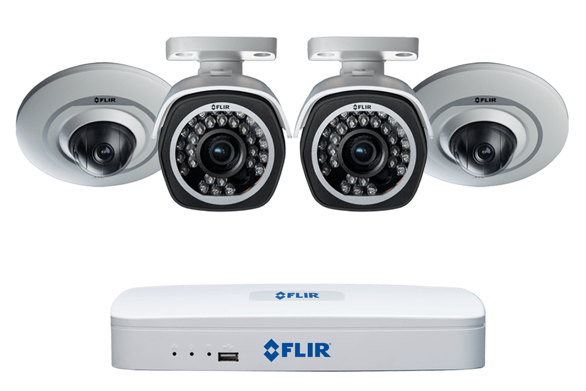 Surveillance system with 4 Channel NVR 2 720p Audio Pan Tilt Domes and 2 HD 1080p Bullet cameras