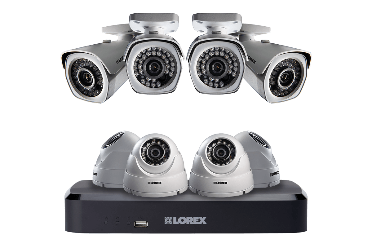 1080p High Definition IP security camera system with 8 channel NVR and 8 outdoor 1080p IP Cameras