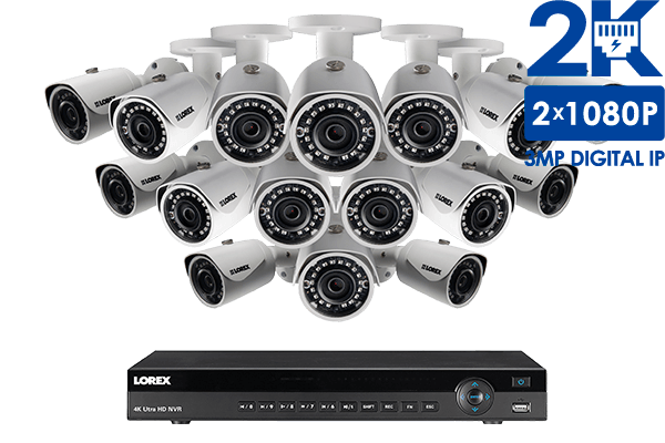 2K IP Security Camera System with 16 Channel NVR and 16 HD Outdoor ...