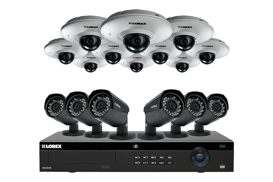16 channel IP camera system with mix of 2K Color Night Vision and 1080p audio enabled cameras