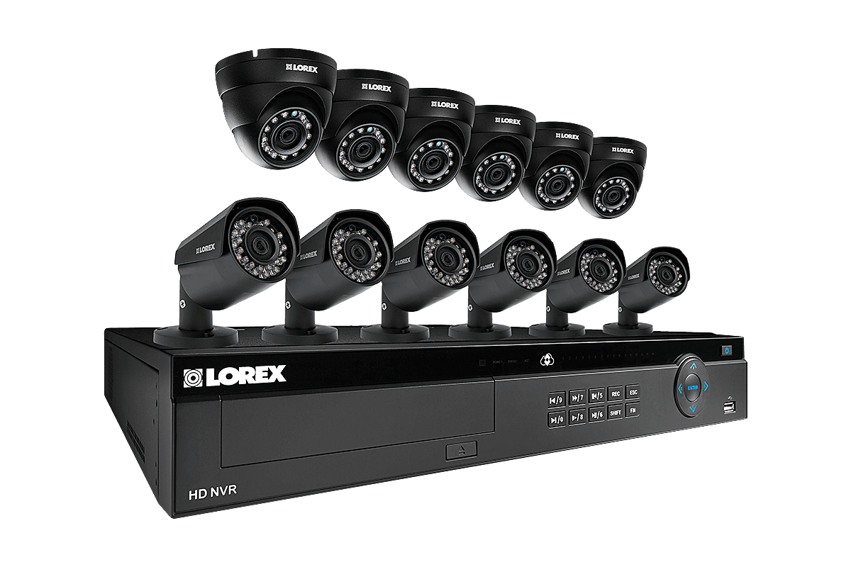 16 channel IP security system featuring twelve 2K resolution security cameras with Color Night Vision™
