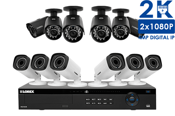 HD IP camera security system with 16-channel NVR