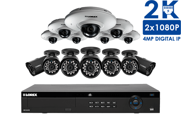 IP security system featuring 2K resolution and HD 1080p audio-enabled cameras