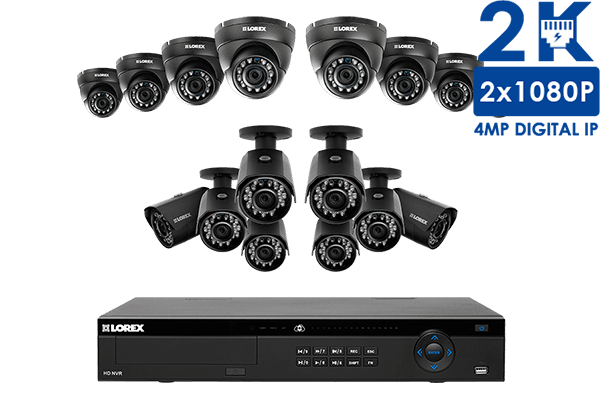 2K IP camera system with 16 outdoor cameras and 16 channel NVR