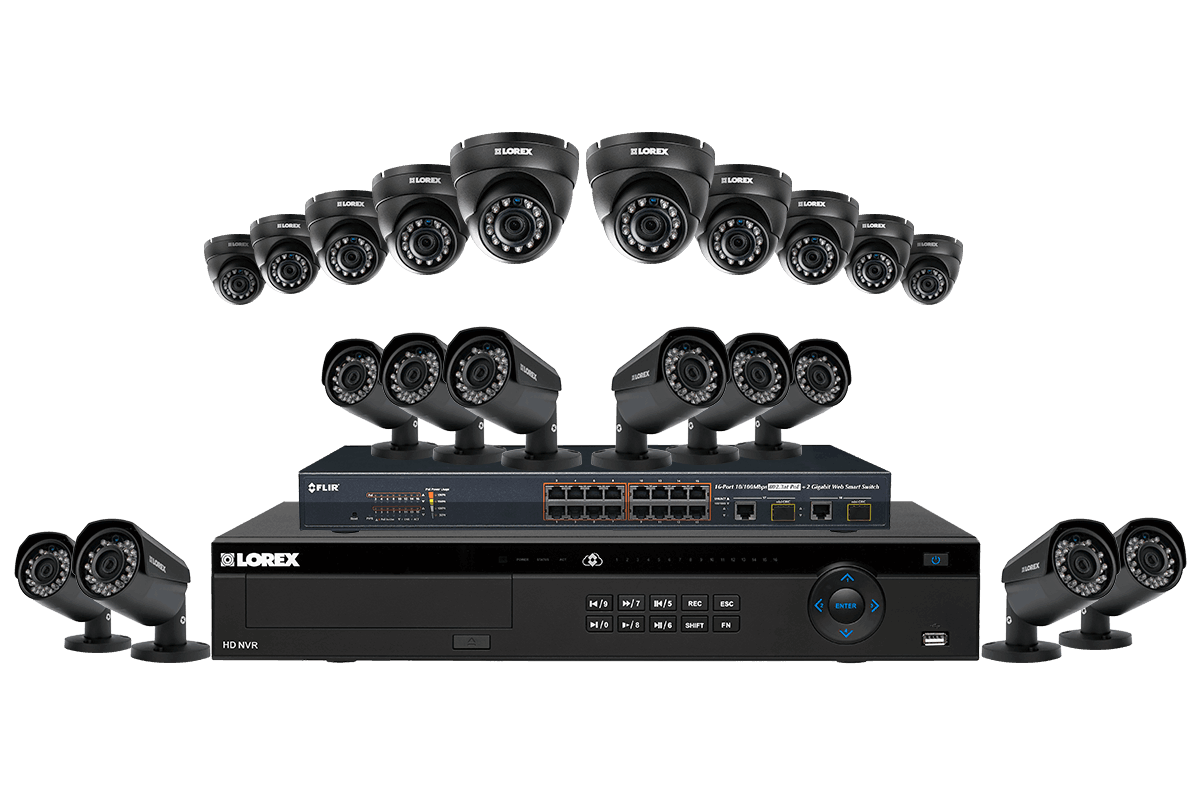32 channel NVR security system with twenty 2K resolution Color Night Vision™ IP cameras