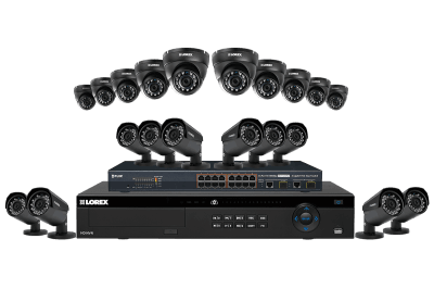 32 channel NVR security system with twenty 2K resolution Color Night Vision IP cameras