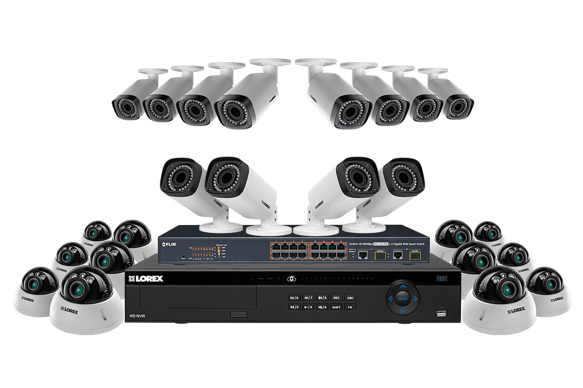 2K Security System with 32 channel NVR 6TB hard drive and 24 IP outdoor Cameras
