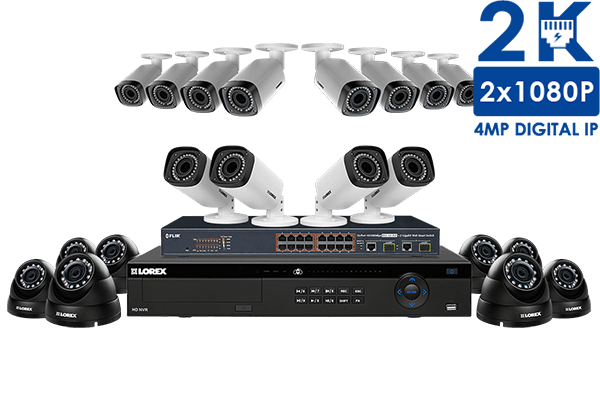 1080p HD security system with 20 IP cameras and motorized varifocal lenses
