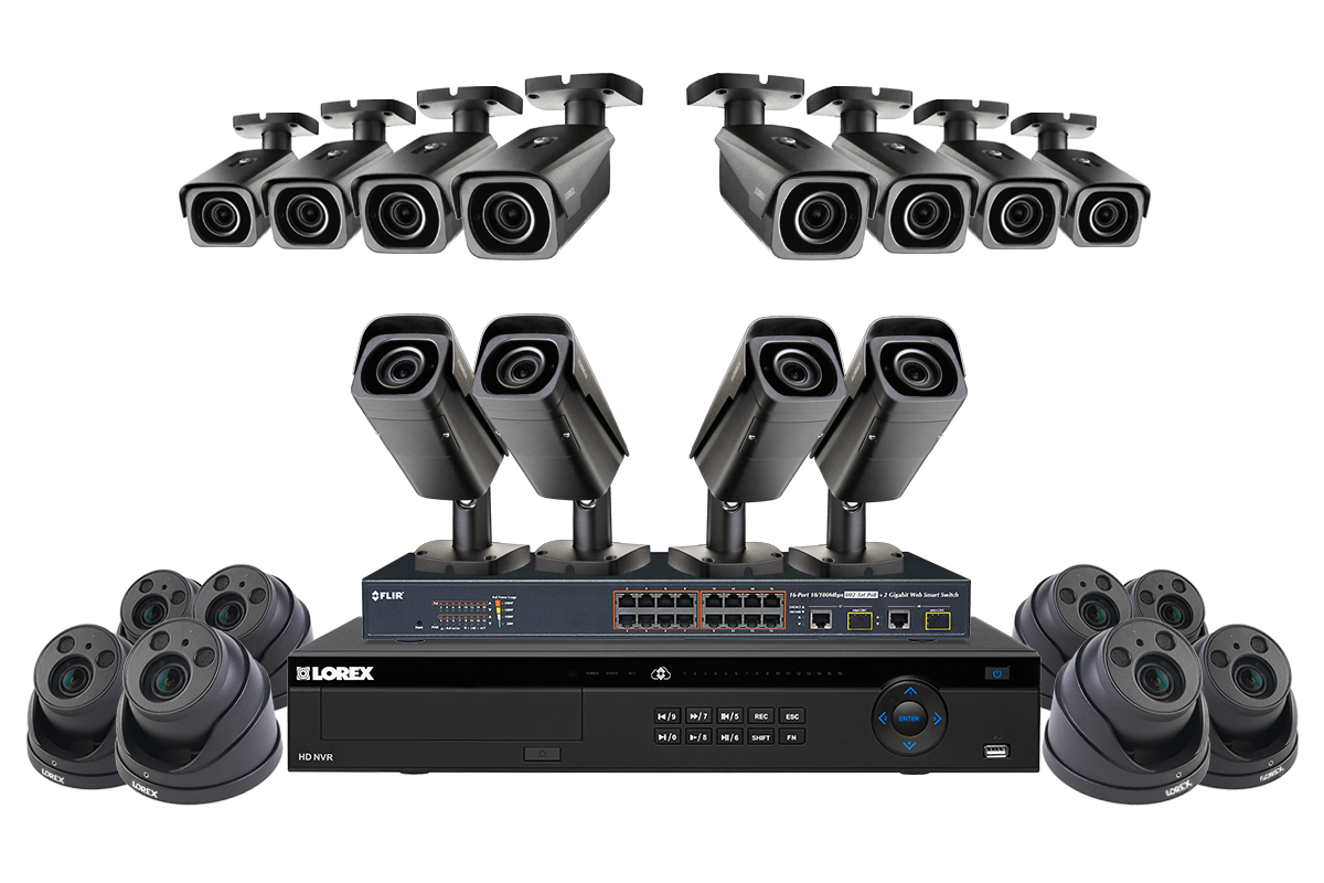 4K Ultra HD IP 8 Channel NVR System with 6 Outdoor 4K 8MP IP Cameras on