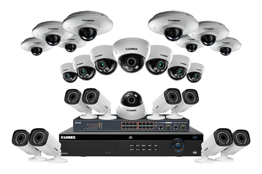IP security system with 8 PTZ 1080p IP cameras and 12 motorized varifocal 2K cameras 32 Channel NVR