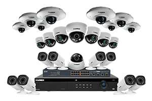 IP security system with eight HD 1080p and twelve 2K cameras