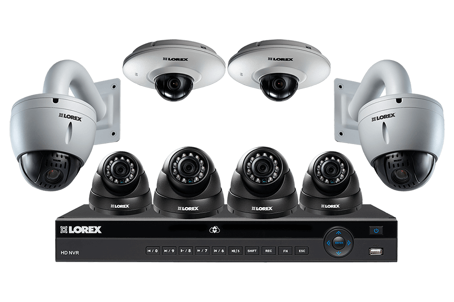 8 channel IP security camera system featuring four 2K resolution cameras, audio and PTZ function