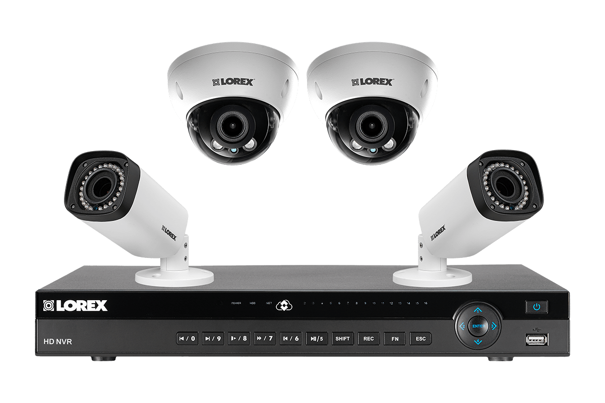 HD IP camera system with 8-channel NVR with 4 varifocal cameras