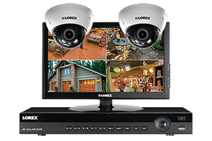 HD 1080p IP camera system with monitor and 2 domes