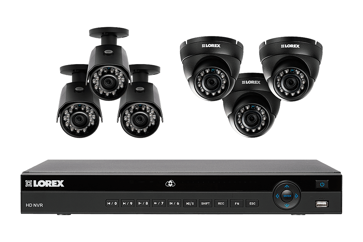 8 channel 2K home security system with 6 weatherproof IP cameras 130ft color night vision