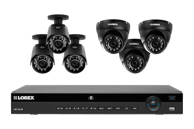 HD IP home security system with 6 weatherproof HD IP cameras