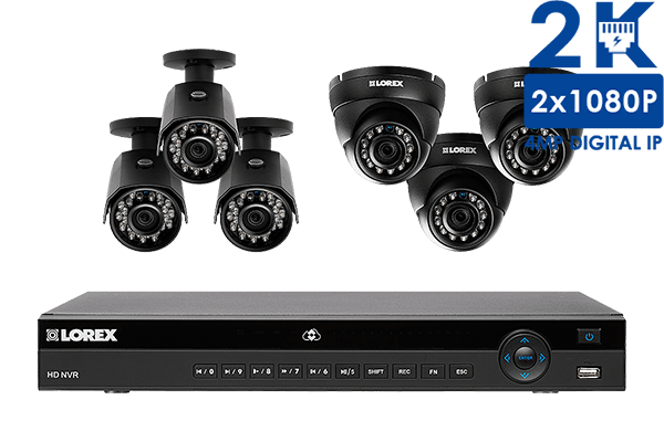 8-Channel HD home security system with 6 weatherproof HD IP cameras