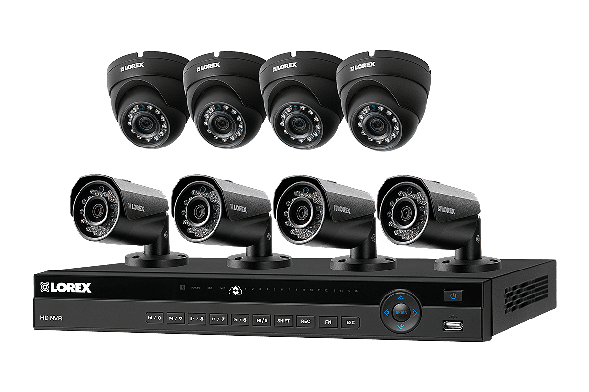 8-channel home security system with 8 high definition IP cameras