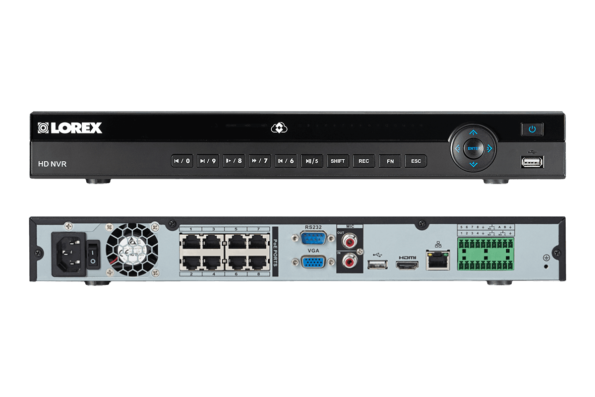 Security NVR system with 2K resolution IP cameras featuring Color Night Vision