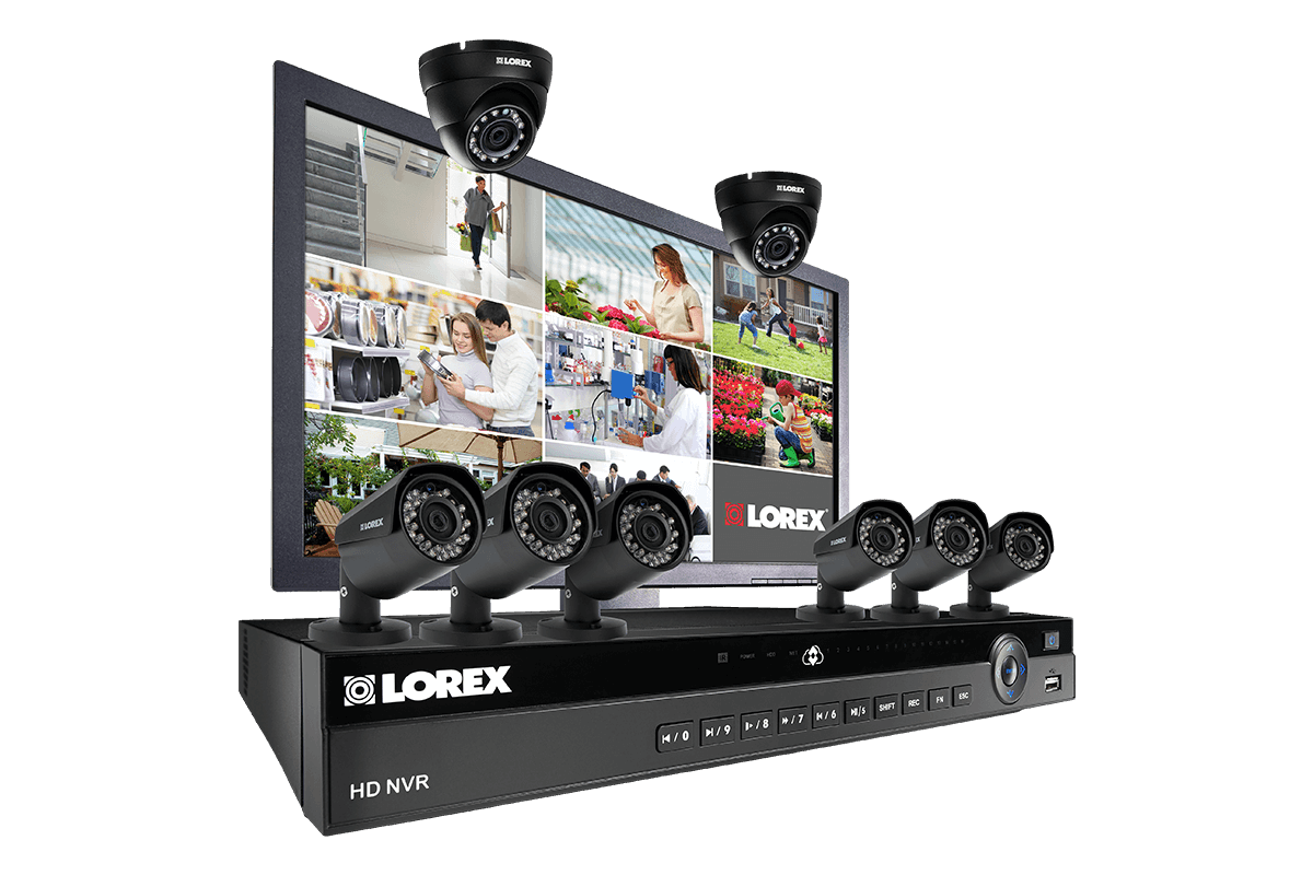 Complete IP camera security system featuring 8 2K resolution cameras and monitor