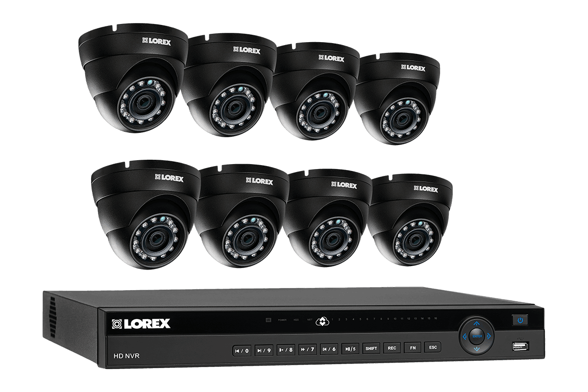 2K resolution IP camera security system with 8 domes and 8 channel NVR 125 color night vision