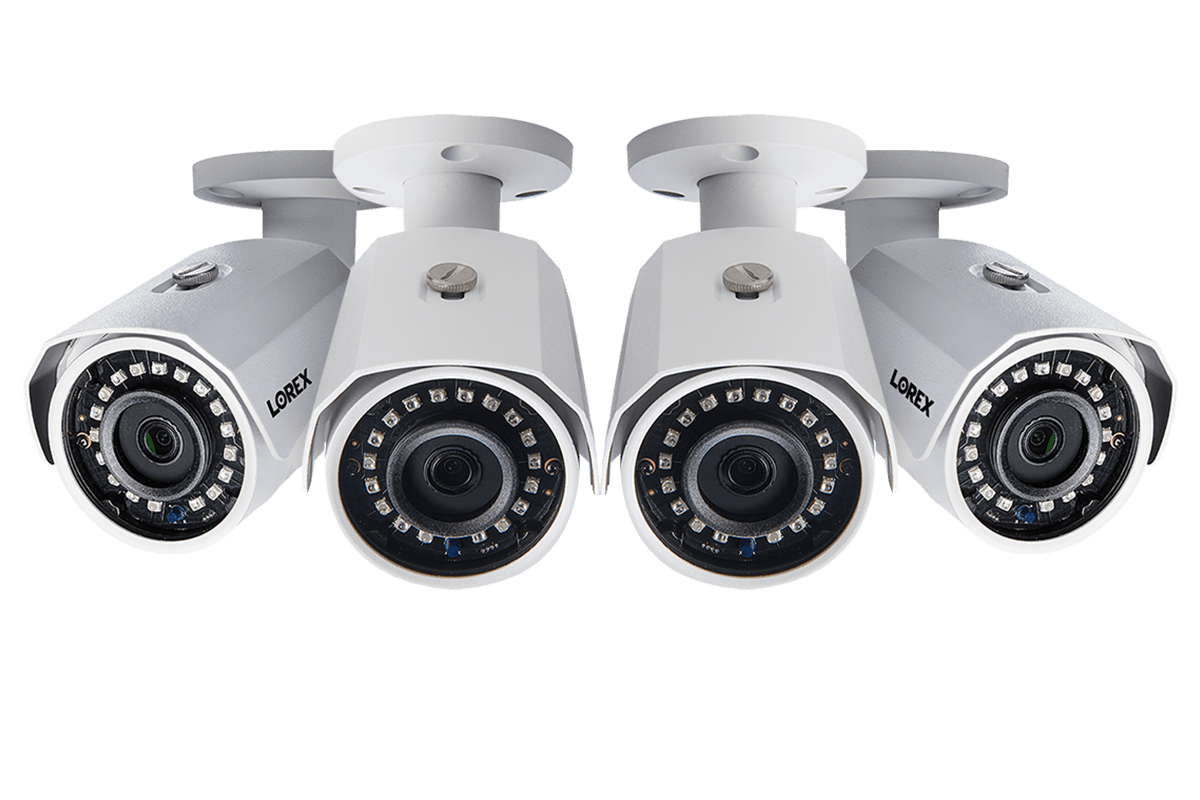 1080p HD weatherproof night vision security cameras 4 pack