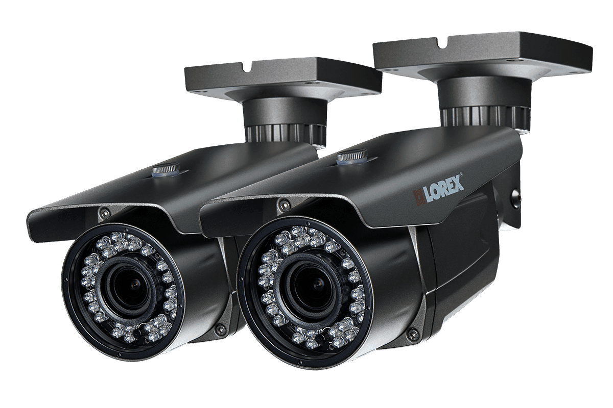 1080p HD security bullet cameras with motorized varifocal lenses 170ft night vision 2 pack