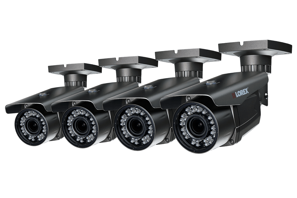 1080p HD security bullet cameras with motorized varifocal lenses 170ft night vision 4 pack