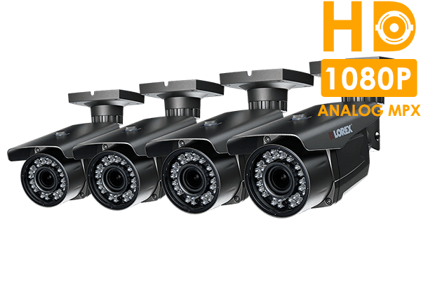 HD security cameras with motorized varifocal lenses (4-pack)