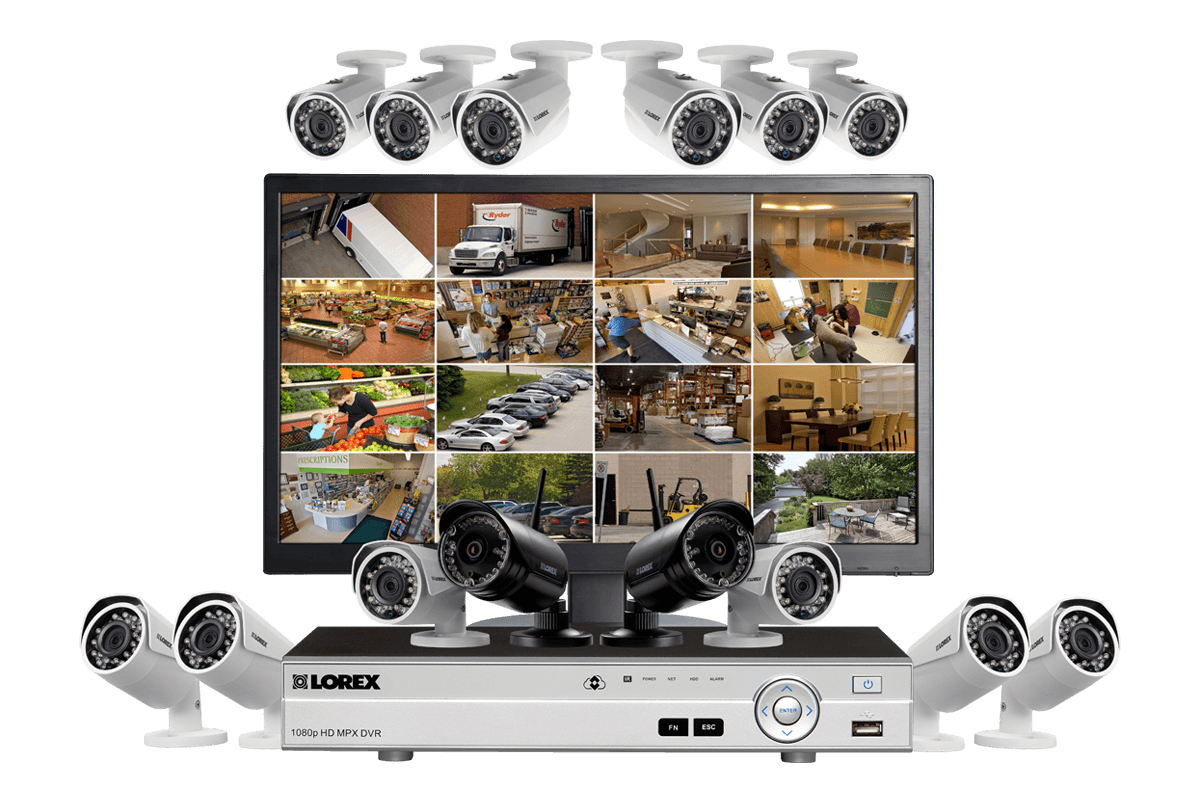 Complete 14 camera wired wireless security system with monitor