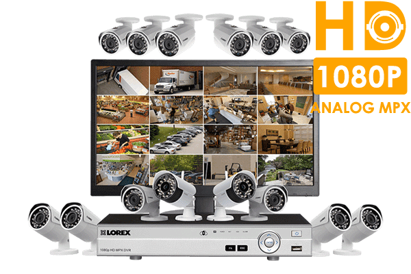Complete 14 camera wired + wireless security system with monitor