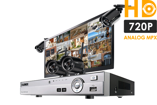 Complete security camera system with 4 HD 720p wireless cameras and monitor