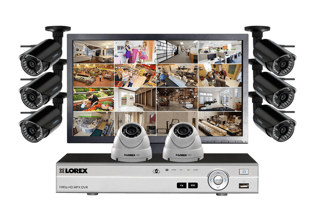 Security System with 6 Wireless Cameras, 2 Domes and Monitor | Lorex