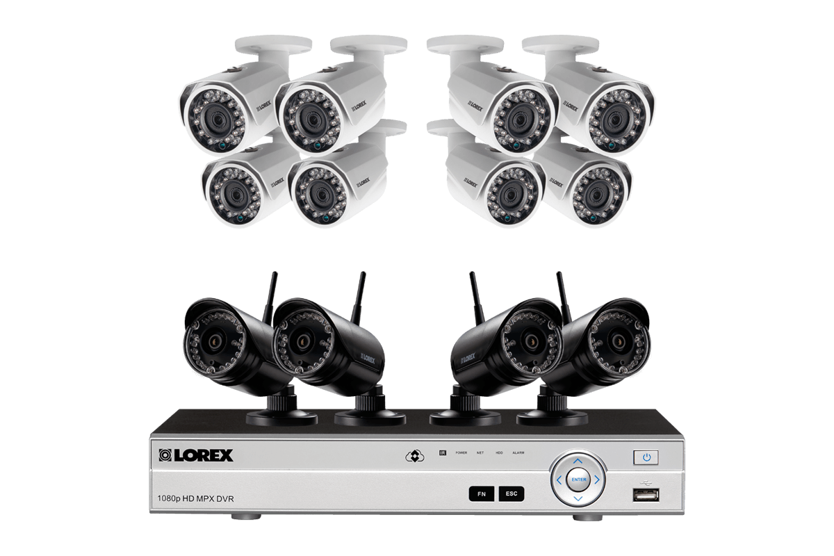 4 channel system with 2 wireless security cameras lorex outdoor surveillance system with 8 hd 1080p cameras and 4 hd 720p wireless cameras solutioingenieria Choice Image