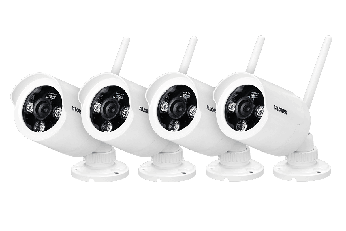 White wireless cameras with night vision (4-pack)