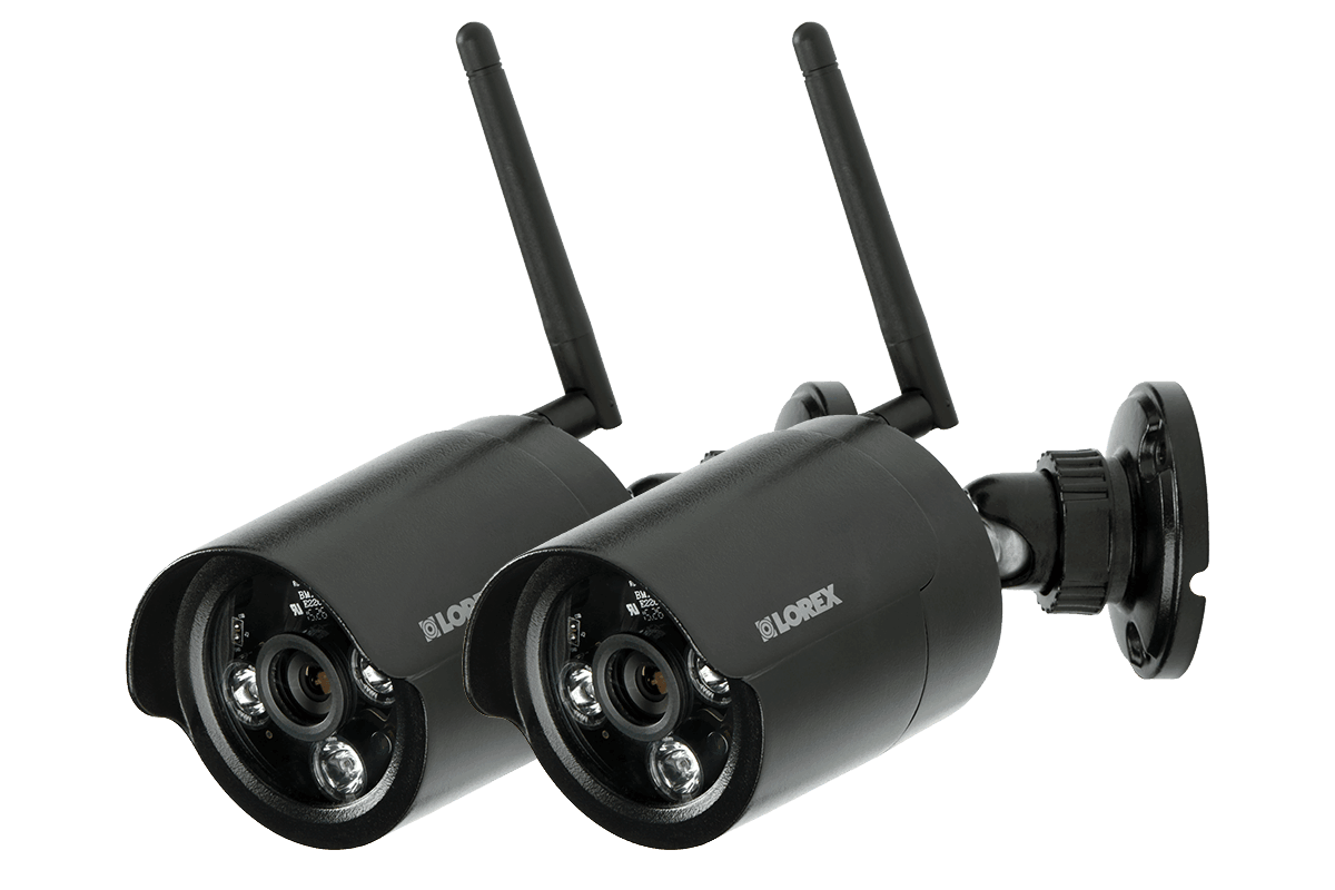 Black wireless cameras with night vision (2-pack)