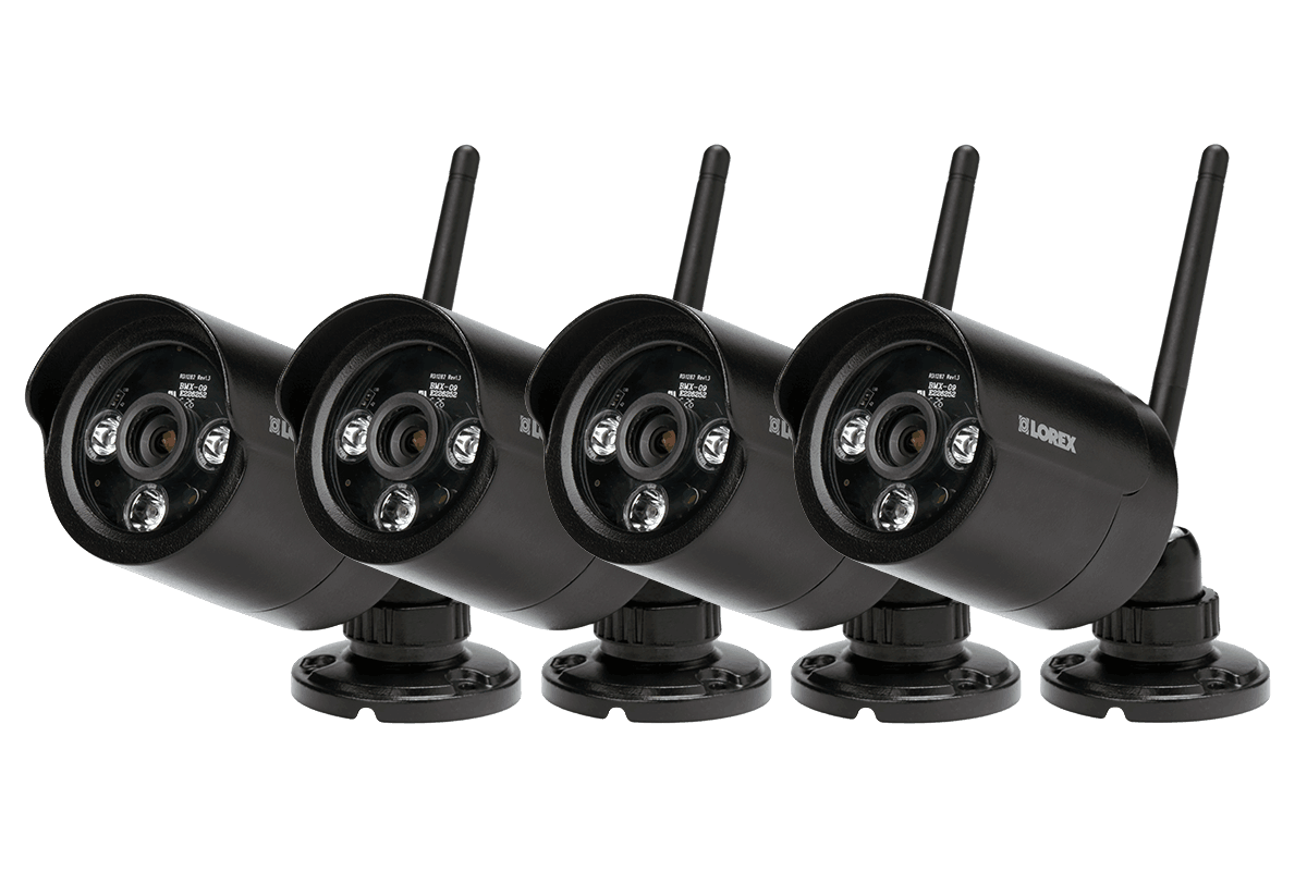 Black wireless cameras with night vision 4 pack