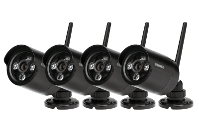 Black wireless cameras with night vision (4-pack)