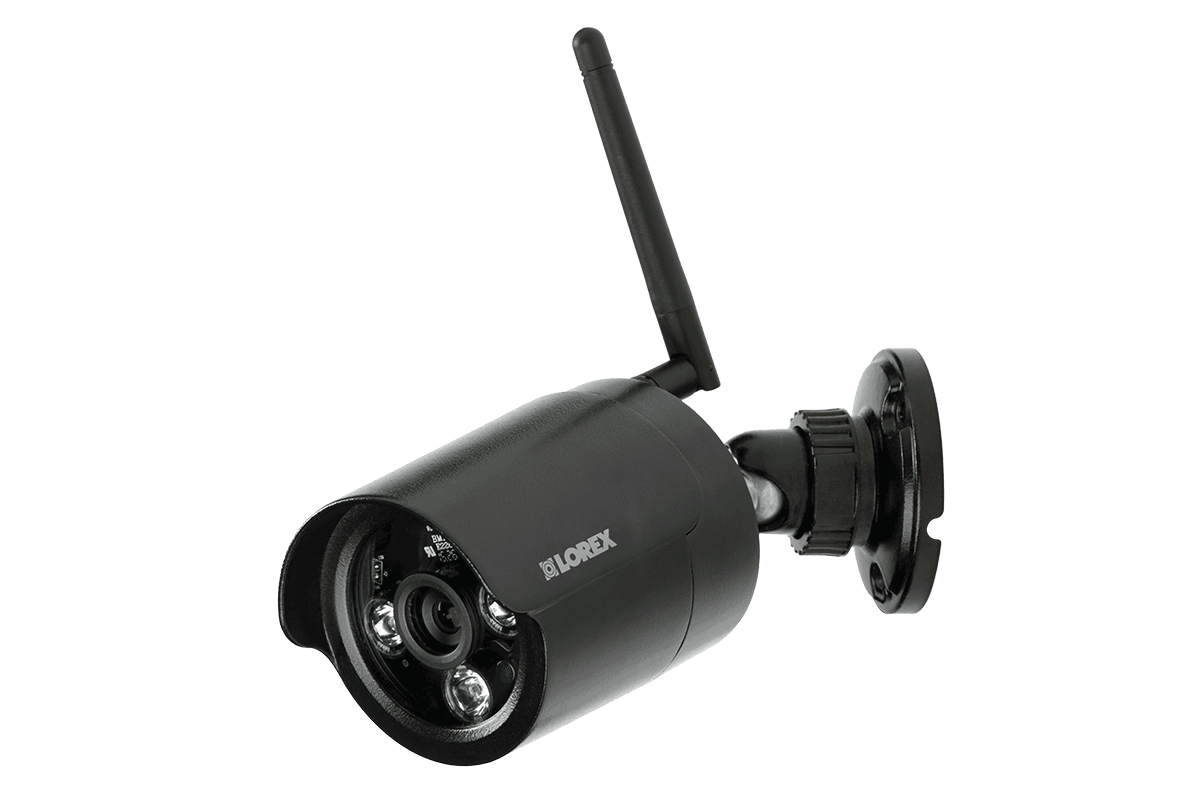 Wireless security camera with night vision black