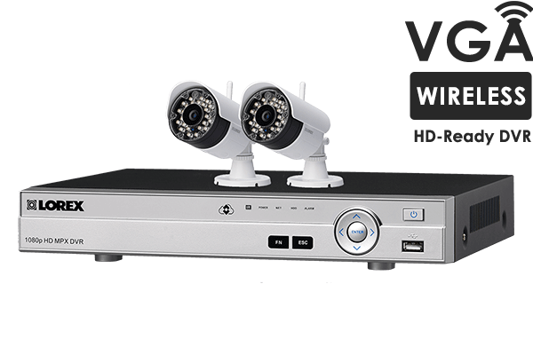 4 channel system with 2 wireless security cameras