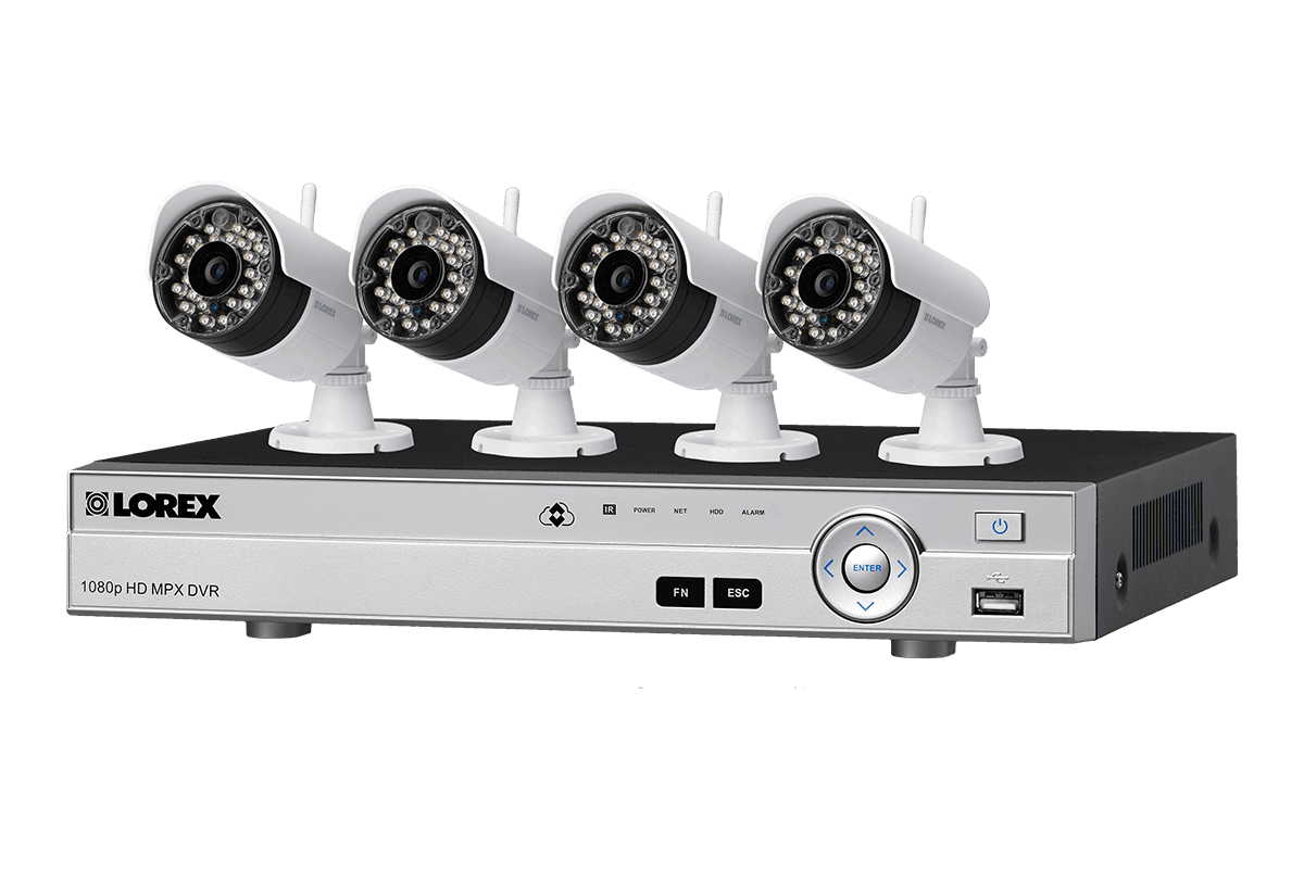 4-camera surveillance system with HD 1080p wired and VGA wireless ...
