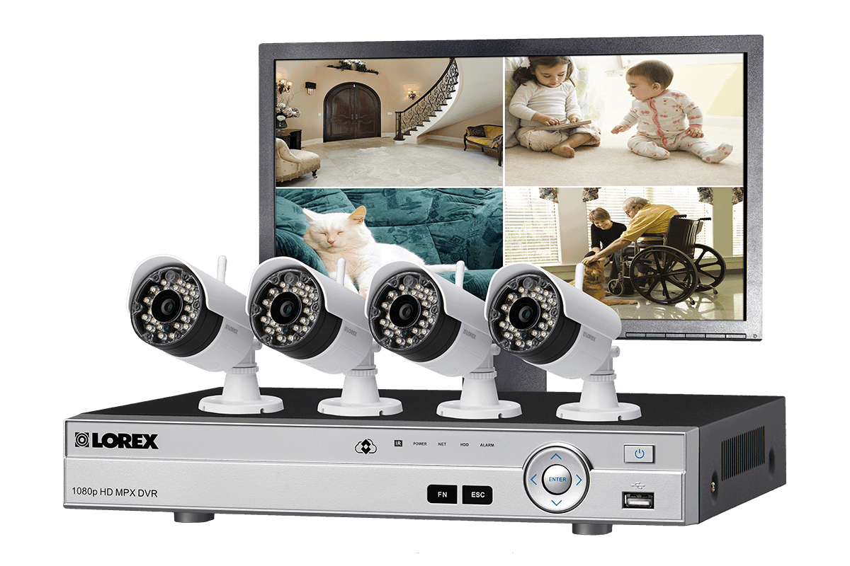 Wireless Security Camera System with Monitor and 4 Outdoor Cameras