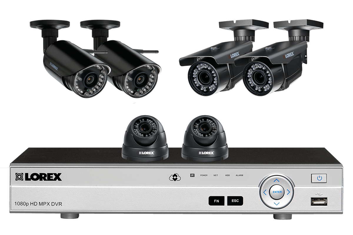 Flexible security system with HD 1080p cameras and 2 wireless HD 720p cameras