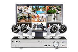 Complete security system with 4 wireless cameras and monitor