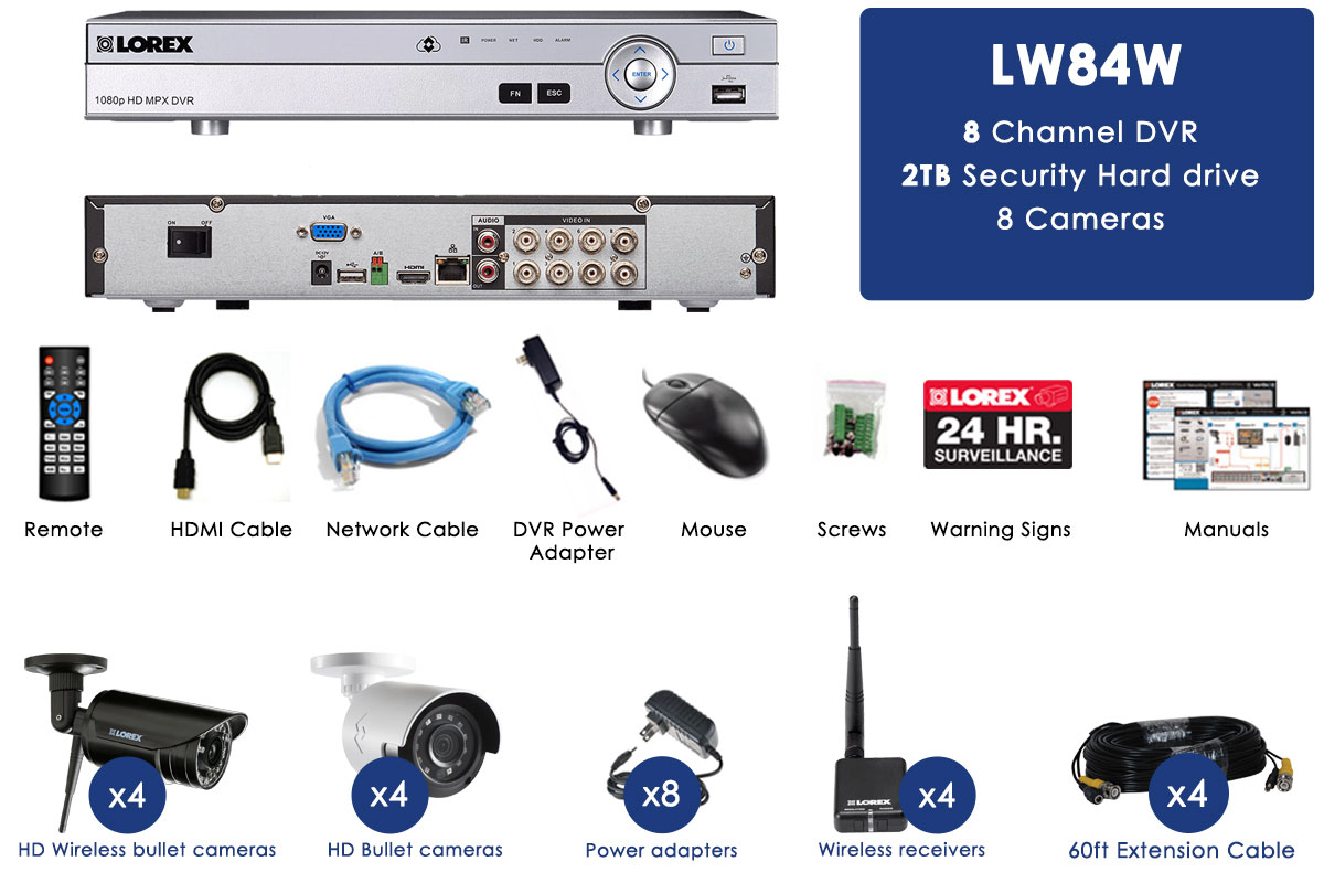 Security Camera System featuring four Wireless HD 720p and four ...