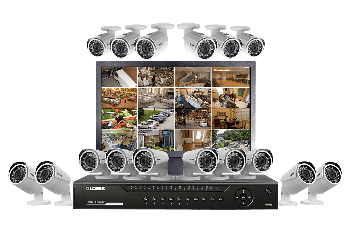 HD 1080p surveillance camera system with monitor and 16 security cameras